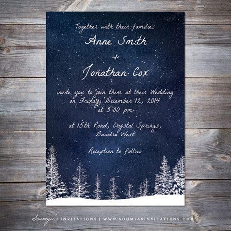 Winter Wedding Invitation, Snow Wedding, Navy Blue Wedding