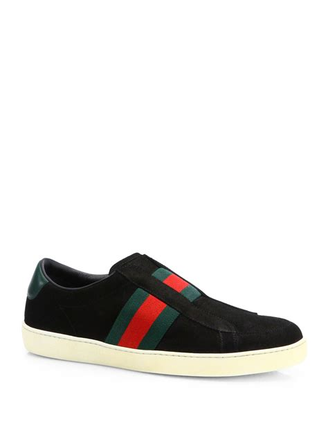 gucci sneakers black gucci slipon sneakers in black for lyst