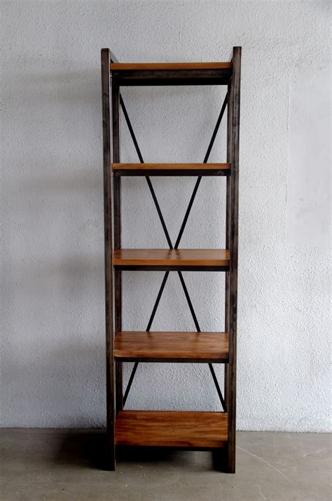 decor industrial look metal and wood bookcase for