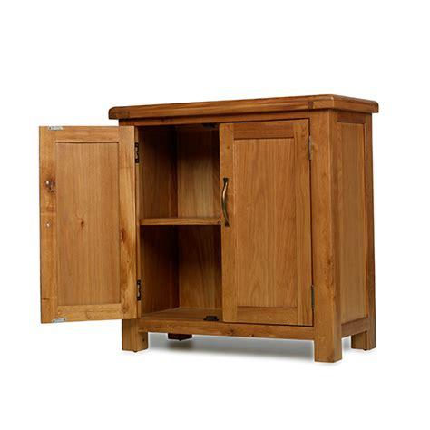 small 2 door wooden cabinet earlsbury solid chunky wood rustic oak two door compact
