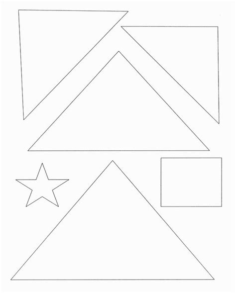 Christmas Tree Template With Shapes Star Square Triangle And Then Color And Decorate Triangle Tree Template