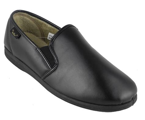 mens slippers wide fit mens dr keller wide fit leather look memory foam slippers