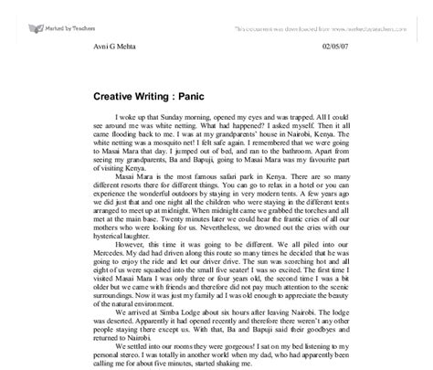 Creative Essays by Creative Writing Panic Gcse Marked By Teachers