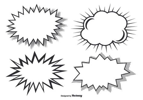 comic style burst shapes download free vector art stock
