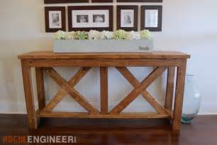 Entryway Storage Bench Plans Free Diy X Brace Console Table Free Plans Rogue Engineer