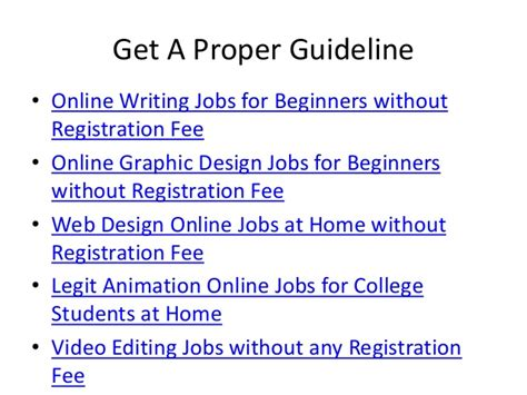 Online Work From Home Jobs Without Registration Fees - online job for students without registration fee