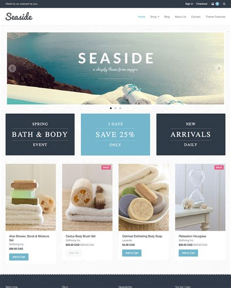 shopify themes for single product seaside theme providence ecommerce website template