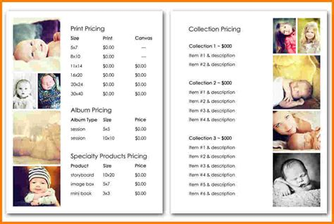 price sheet template price list template free download