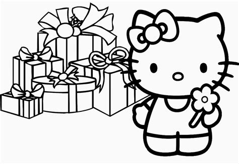hello kitty birthday coloring pages