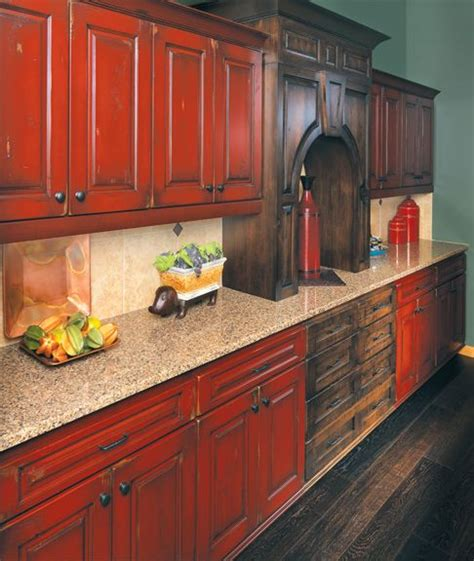 rustic painted kitchen cabinets 25 best ideas about red kitchen cabinets on pinterest