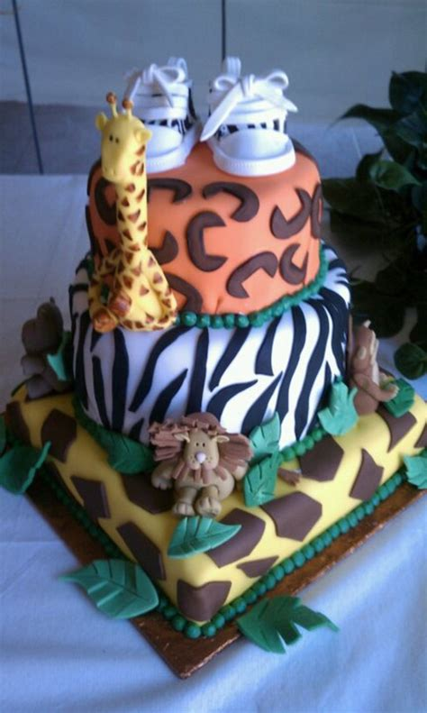 jungle theme baby shower cake jungle theme baby shower 3 tier cake cakecentral