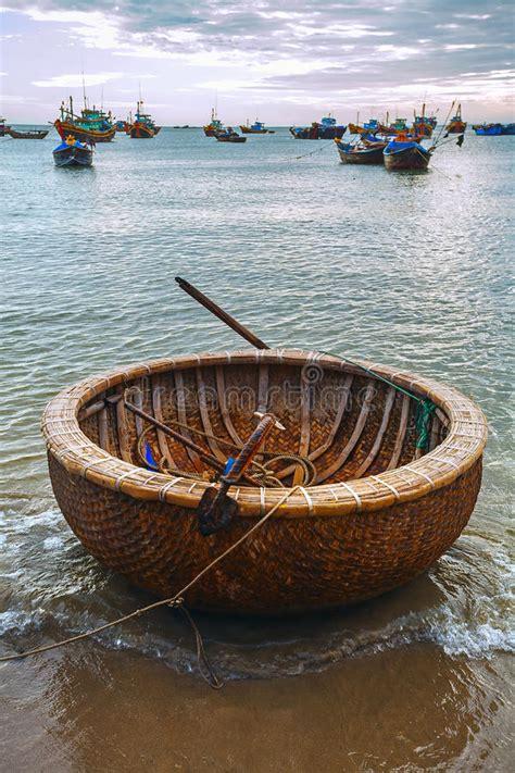 round boat vietnamese round boat beach sunset stock image image