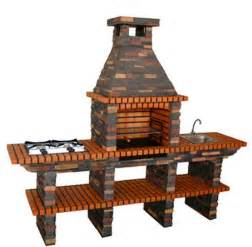 Stone bbq with gas stove sink and chimney 209