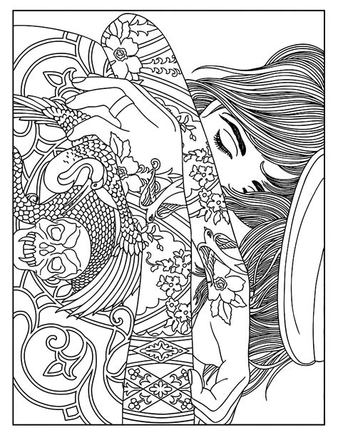 Woman tattoos - Tattoos Adult Coloring Pages