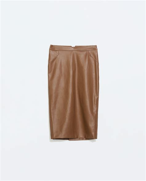 faux leather zara faux leather skirt in brown leather lyst