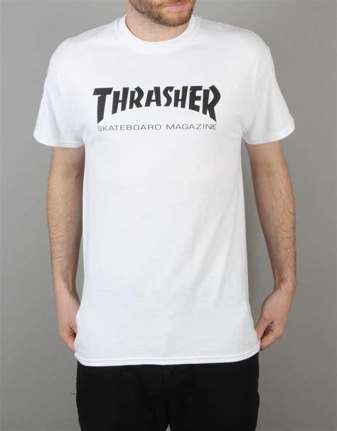 Tshirt Skateboards Thrasher White Thrasher Skate Mag T Shirt White Graphic T Shirts
