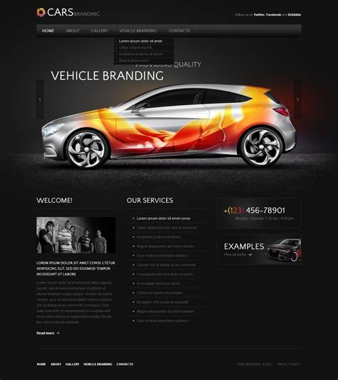 template themes car tuning website template 36768