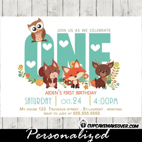 Woodland First Birthday Invitation Forest Friends Personalized Cupcakemakeover Friends Themed Invitation Template