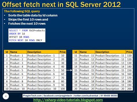 mvc video tutorial venkat sql server net and c video tutorial offset fetch next