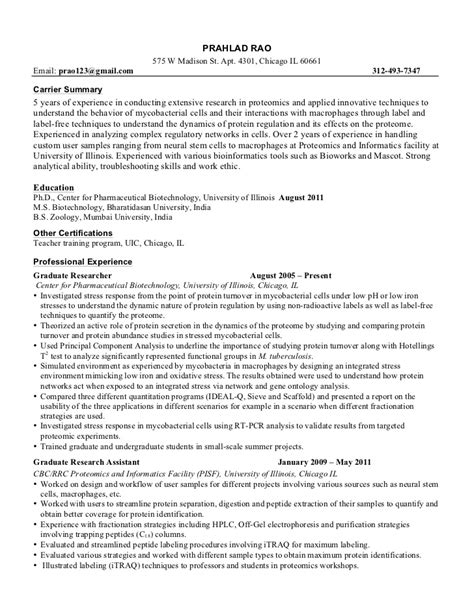 Resume Exles Biology Graduate Exle Resume Sle Resume Biology Major