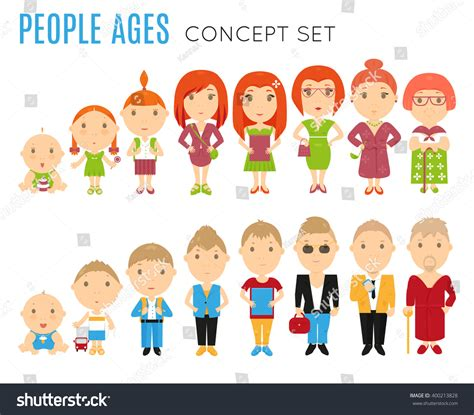 Find Peoples Age Set Of Age Icon Vector Stage Illustration