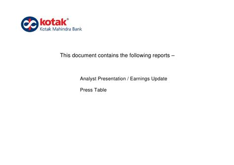 Bank Statement Request Letter Kotak Mahindra Kotak Mahindra Bank Q1 Fy12