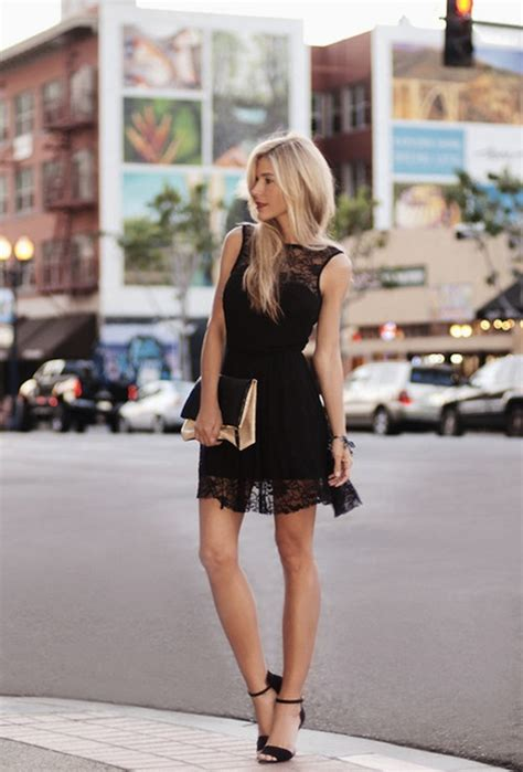 black lace dresses wearing with high heels 2019 fashiongum