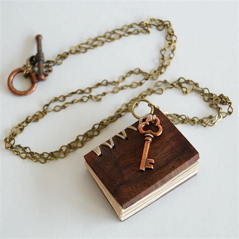 walnut wook mini book necklace flickr photo
