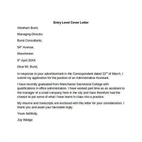 Entry Level Cover Letter Templates   9  Free Samples