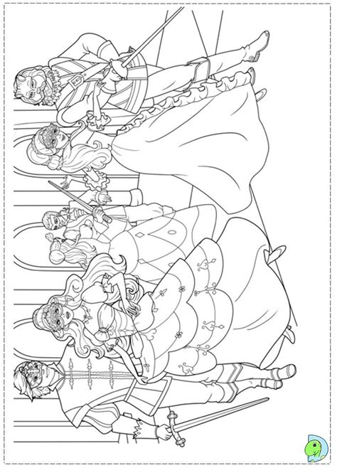 barbie and the three musketeers coloring page dinokids org