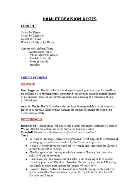 hamlet themes revision hamlet revision hamlet