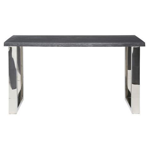 stainless steel console table zinnia industrial loft grey oak stainless steel console table