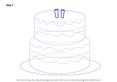 learn   draw  birthday cake cakes step  step drawing tutorials