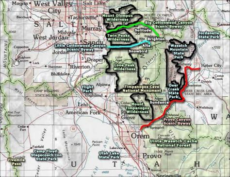 wasatch mountains map wasatch mountain state park