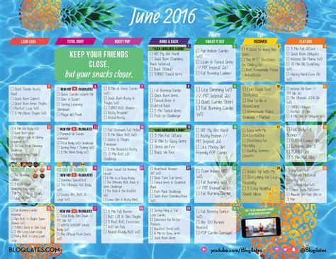Workout Calendar June 2016 Blogilates Workout Calendar Get Password By