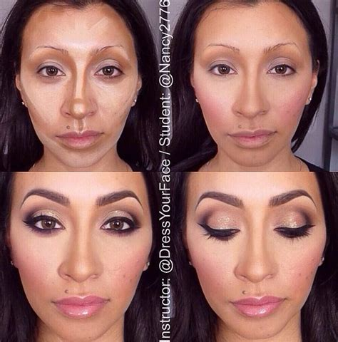 contouring and highlighting makeup dark brown hairs