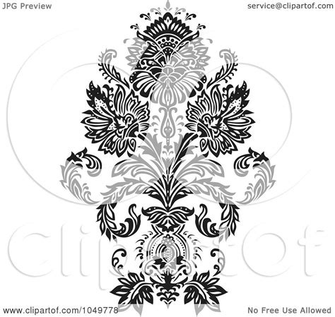 Elegan Premium Black 10013 royalty free rf clip illustration of a black vintage damask design element 1 by