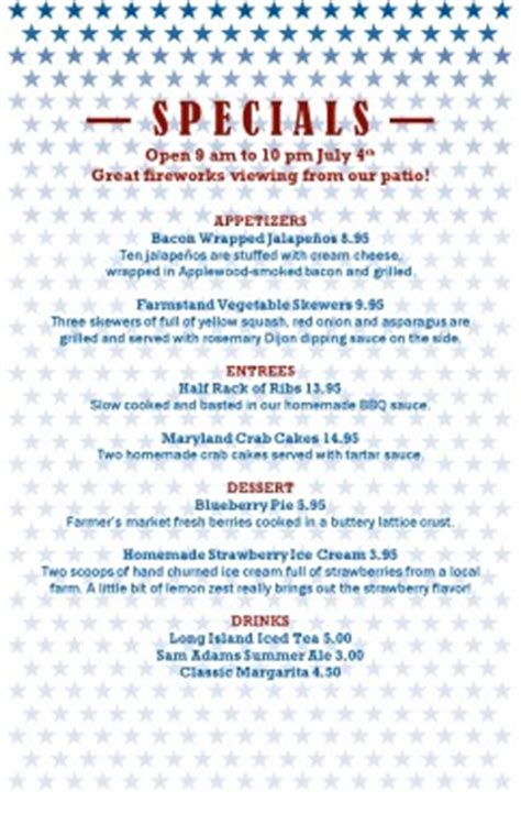 4th of july menu template independence day restaurant menu 4th of july menus