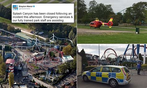theme park accidents 2017 drayton manor theme park accident on splash canyon ride