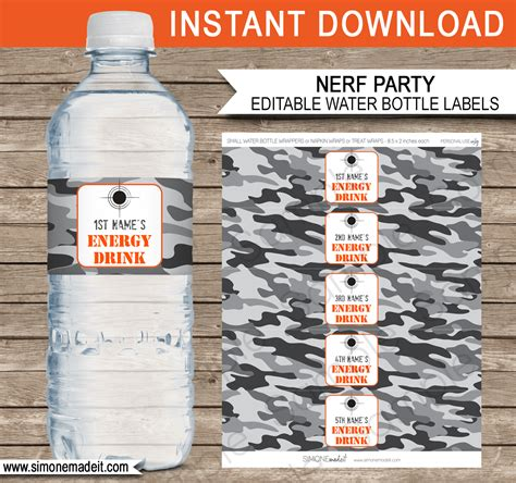 drink bottle label template nerf water bottle labels template editable printable