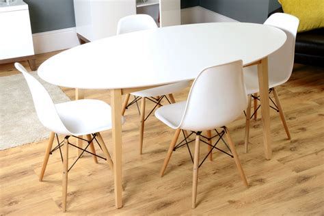 Oval White Dining Table Hackney White Oak Mid Century Oval Dining Table I Retro