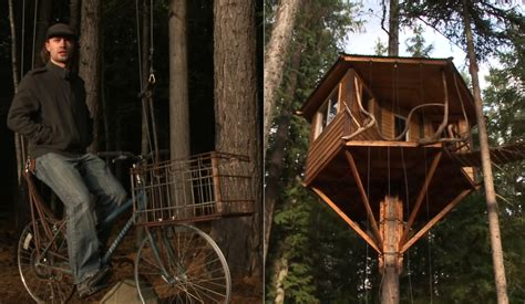 tree elevator sandpoint treehouse features bicycle powered elevator