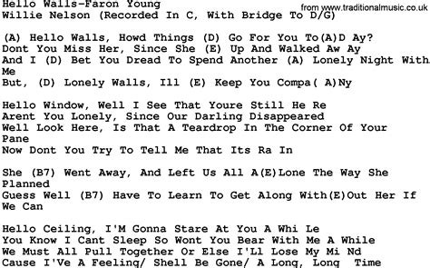 song lyrics willie nelson country hello walls faron willie nelson