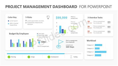 Project Management Dashboard Powerpoint Template Pslides Powerpoint Project Status Dashboard Template