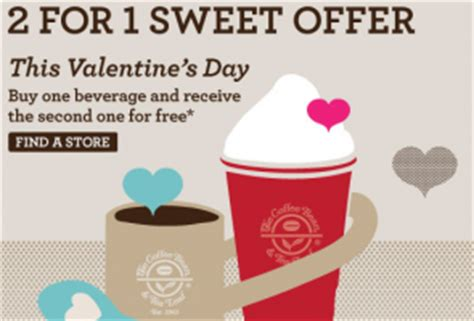 valentines day coffee drinks coffee bean and tea leaf b1g1 free drinks on s