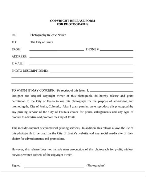 photographer copyright release form template sle photography copyright release form 7 exles in