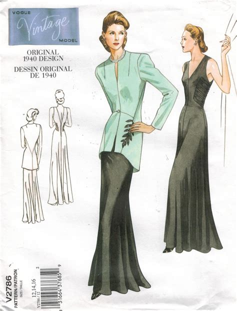 pattern vogue vogue pattern 2786 vintage gown and jacket from 1940 size
