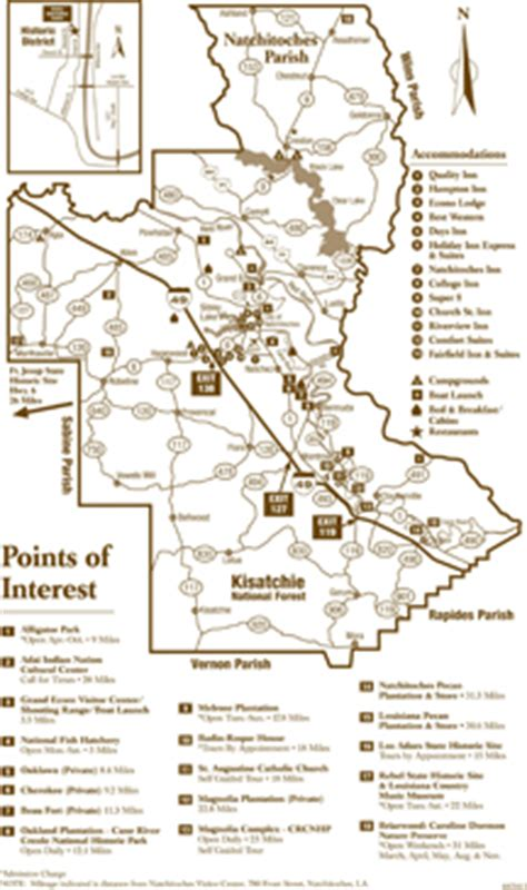 louisiana points of interest map explore official natchitoches travel information