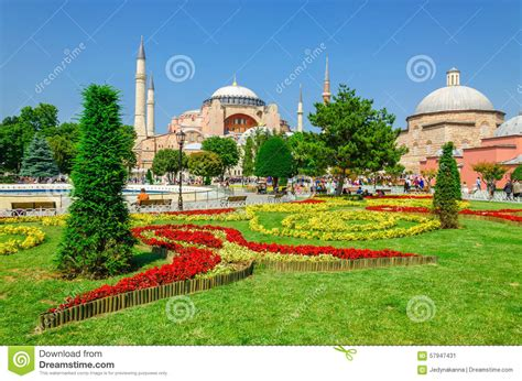 Garden Of Turkey Hagia With Flower Garden Istanbul Turkey