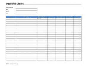 free credit card template credit card use log template excel templates excel